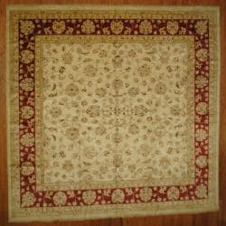 Afghan Hand-knotted Vegetable Dye Ivory/ Red Wool Rug (12' x 12')