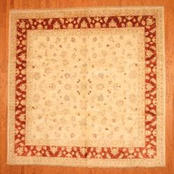 Afghan Hand-knotted Vegetable Dye Ivory/ Red Wool Rug (10' x 10')