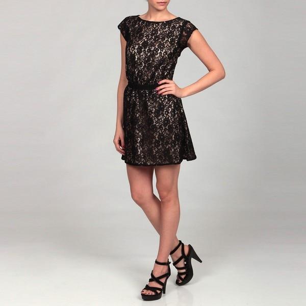 Dylan & Rose Junior's Black Lace Cut-out Back Dress