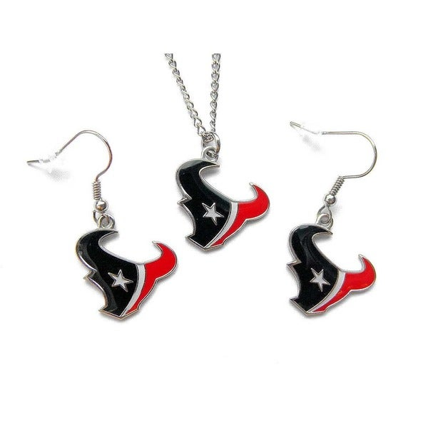 NFL Houston Texans Necklace and Dangle Earring Charm Set