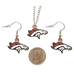 Denver Broncos Necklace and Dangle Earring Charm Set NFL