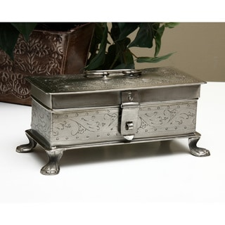 Nickel Scrollwork Lion Leg Locking Box (India)