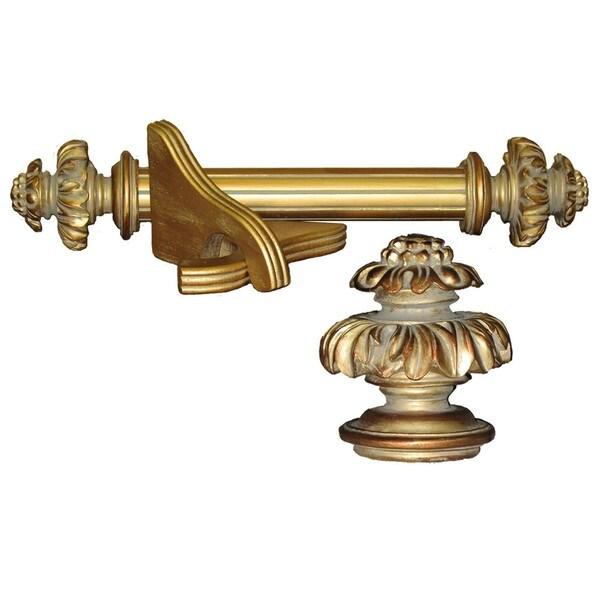 Royal Fancy Historical Gold 4-foot Wood Curtain Rod Set