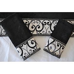 Sherry Kline 'Abingdon Black' Velour 3-piece Towel Set