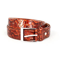 Faddism Men's Shiny Brown Leather Belt (Large)
