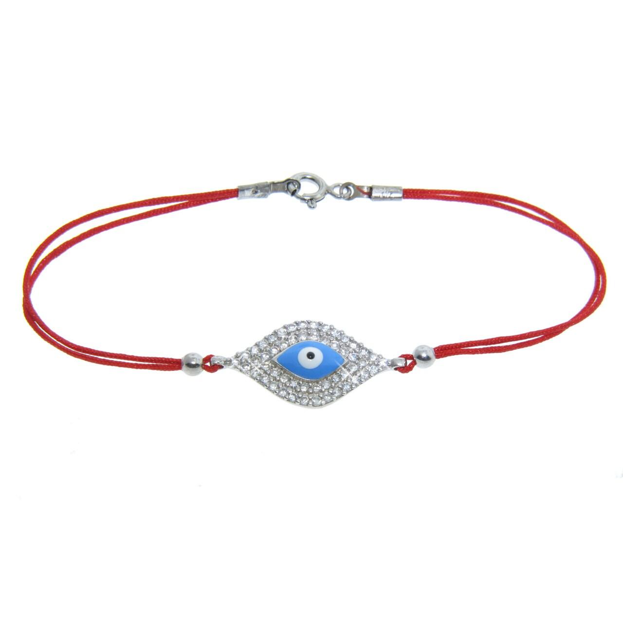 Eternally Haute Sterling-Silver Cubic Zirconia Aqua Evil Eye Cord Bracelet