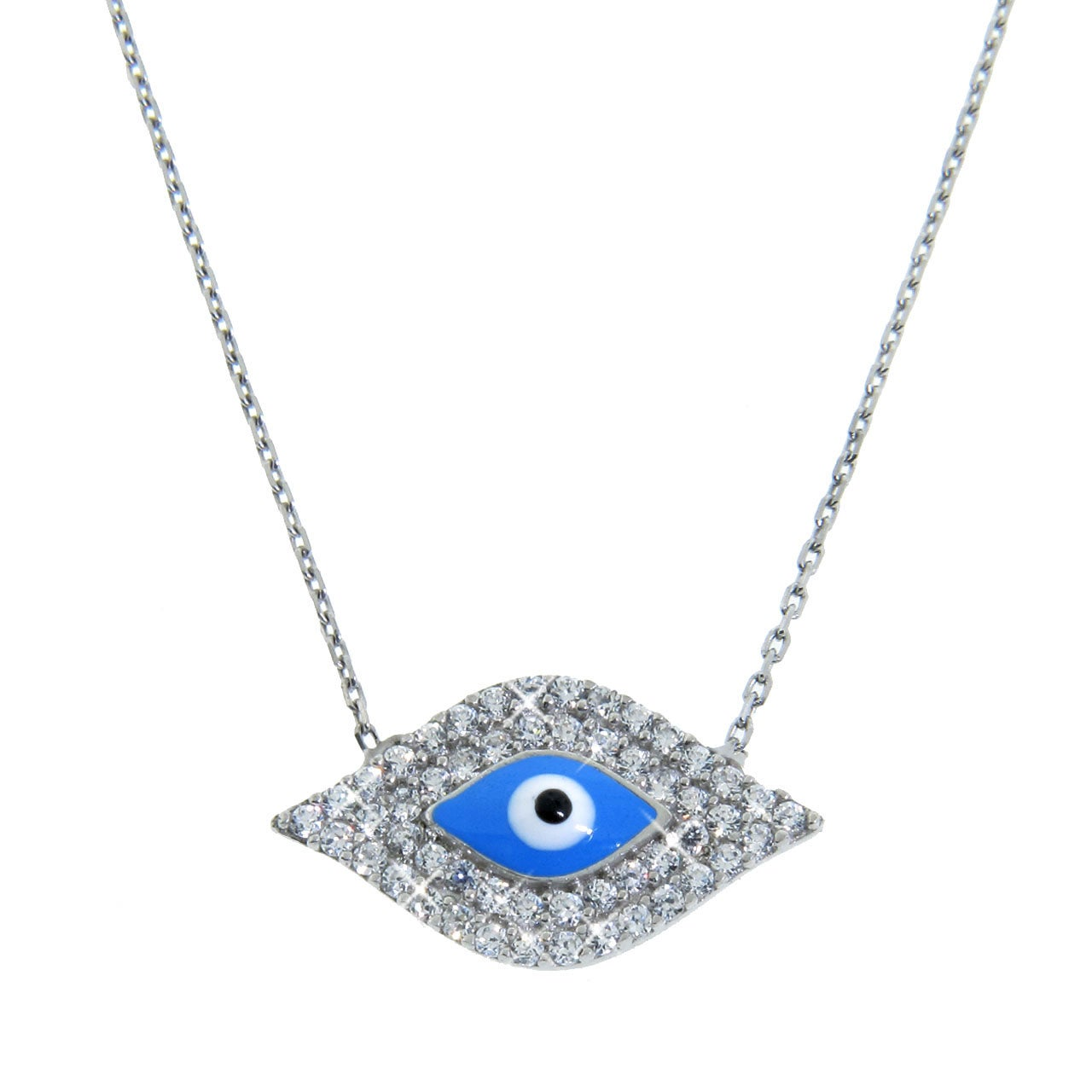 Eternally Haute Sterling Silver Cubic Zirconia Aqua Evil Eye Necklace