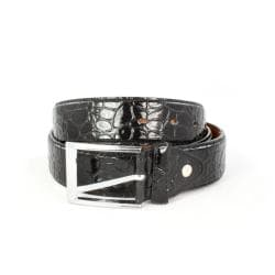 Faddism Men's Crocodile Embossed Black Belt (Large)