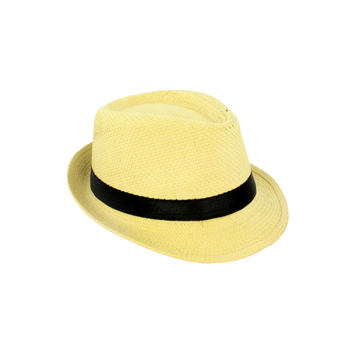 Faddism Unisex Raffia Straw Fedora Hat