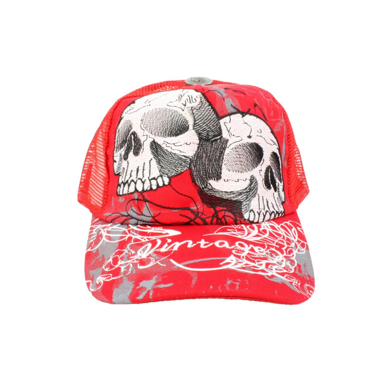 Faddism Unisex Red White Twin Skull Baseball Cap