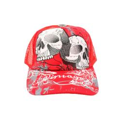 Faddism Unisex Red White Twin Skull Baseball Cap