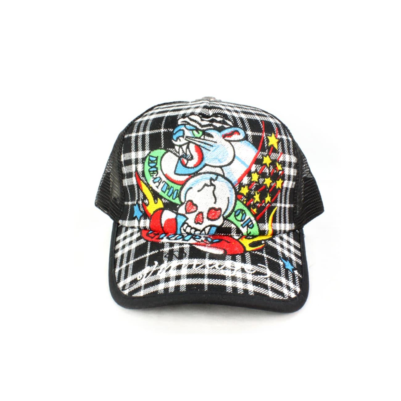 Faddism Unisex Black Skull and Leopard Baseball Cap