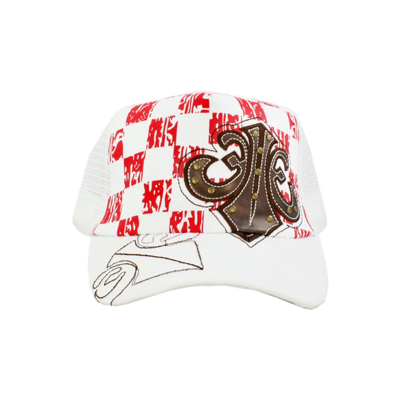 Faddism Unisex White Red Square Design Baseball Cap
