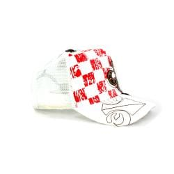 Faddism Unisex White Red Square Design Baseball Cap