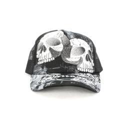 Faddism Unisex Black White Twin Skull Baseball Cap