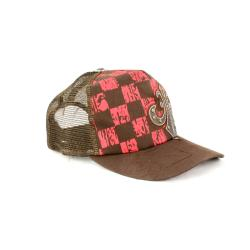 Faddism Unisex Brown/Red Checkered Fashion Baseball Cap