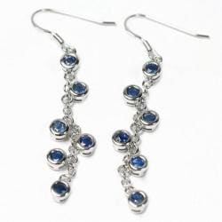De Buman Sterling Silver Blue Sapphire Earrings