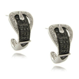 Finesque Silverplated Diamond Accent Black and White Buckle Hoop Earrings
