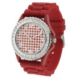 Geneva Platinum Women's Red Houndstooth Rhinestone Silicone Watch