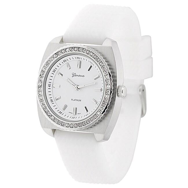 Geneva Platinum Women's Rhinestone-Accented White Silicone Watch