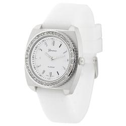 Geneva Platinum Women's Rhinestone-Accented White Silicone Watch