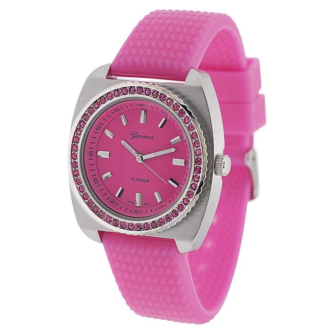 Geneva Platinum Women's Rhinestone-Accented Pink Silicone Watch