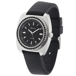 Geneva Platinum Women's Rhinestone-Accented Black Silicone Watch