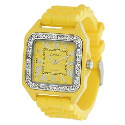 Yellow Geneva Platinum Women's Square-Shaped Rhinestone Silicone Watch