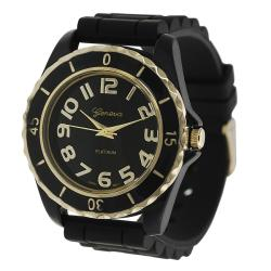Geneva Platinum Women's Chronograph-Style Black Silicone Watch