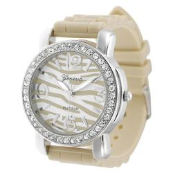 Geneva Platinum Women's Striped Face Rhinestone Silicone Watch