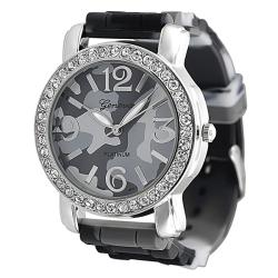 Geneva Platinum Women's Camo Print Rhinestone Silicone Watch