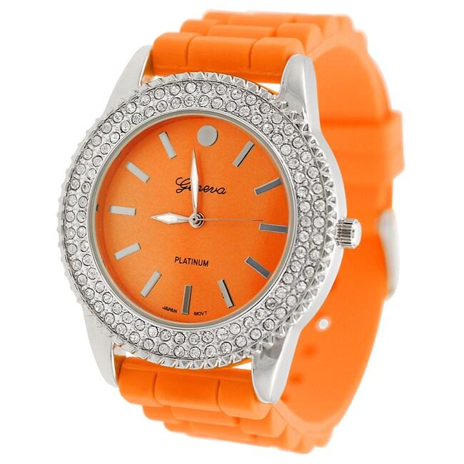 Geneva Platinum Women's Rhinestone-Accented Orange Silicone Watch