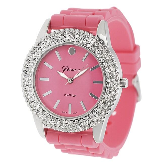 Geneva Platinum Women's Rhinestone-Accented Melon Silicone Watch