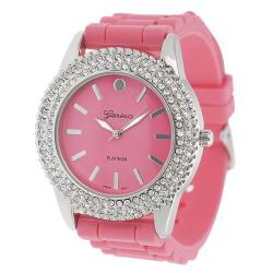 Geneva Platinum Women's Rhinestone-Accented Melon Silicone Watch