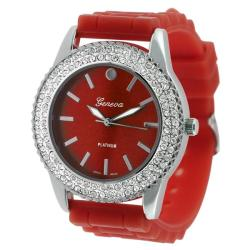 Geneva Platinum Women's Rhinestone-Accented Red Silicone Watch