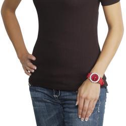 Geneva Platinum Women's Rhinestone-Accented Red Silicone Watch