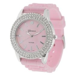 Geneva Platinum Women's Rhinestone-Accented Light Pink Silicone Watch