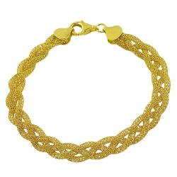 Fremada Gold over Sterling Silver Braided Mesh Bracelet