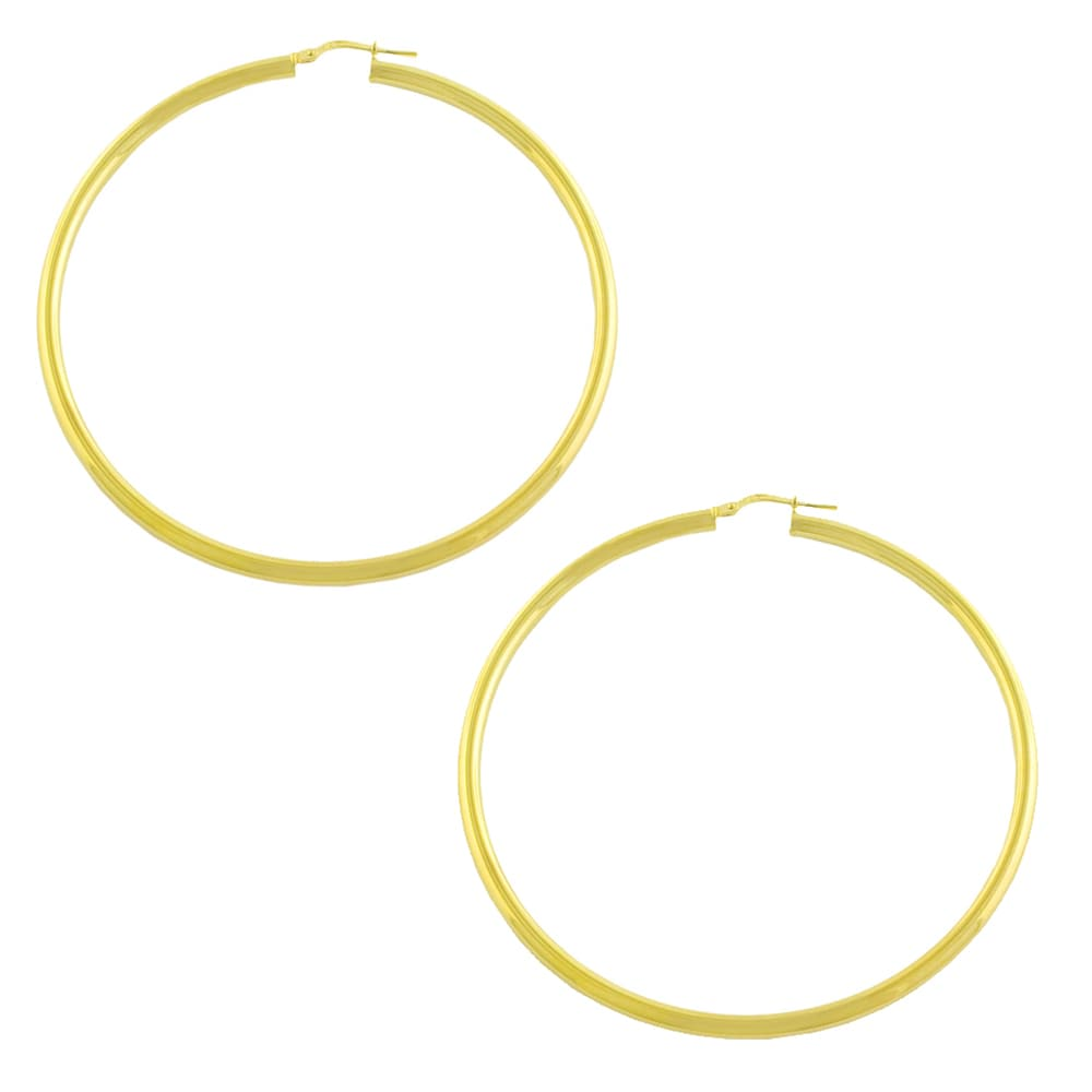 Fremada Gold over Silver 3x60-mm Tube Hoop Earrings