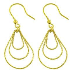 Fremada Gold over Silver Diamond-cut Graduated Teardrop Dangle Earrings