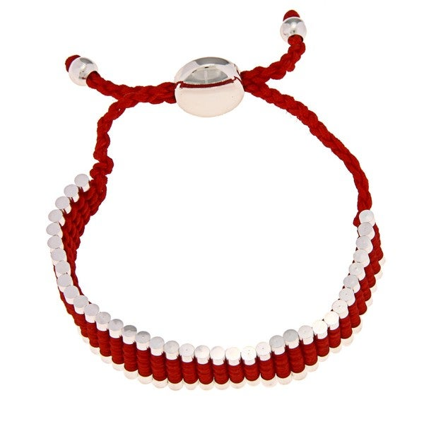 La Preciosa Silverplated Red Cord Friendship Bracelet