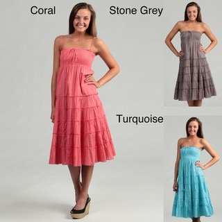 Lapis Women's Turquoise Tiered Skirt/ Dress FINAL SALE