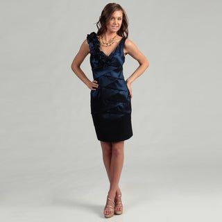 Scarlett Women's Royal Blue Pleated Taffetta Dress
