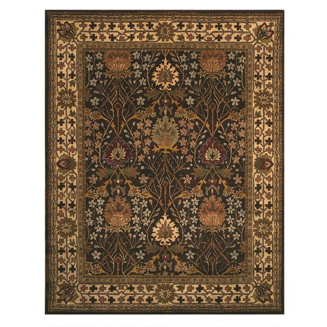 EORC Hand-tufted Morris Brown Wool Area Rug (7'9 x 9'9)