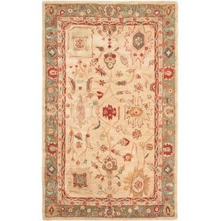 Hand-made Oushak Beige/ Green Hand-spun Wool Rug (4' x 6')