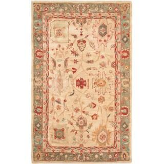 Hand-made Oushak Beige/ Green Hand-spun Wool Rug (5' x 8')