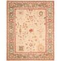 Safavieh Hand-made Oushak Beige/ Green Hand-spun Wool Rug (9'6 x 13'6)