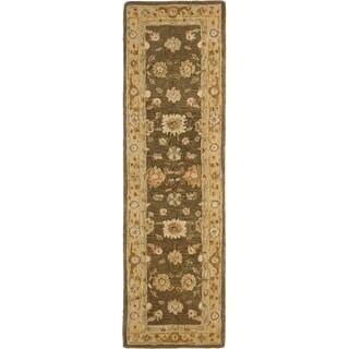 Safavieh Hand-made Farahan Brown/ Taupe Hand-spun Wool Rug (2'3 x 10')