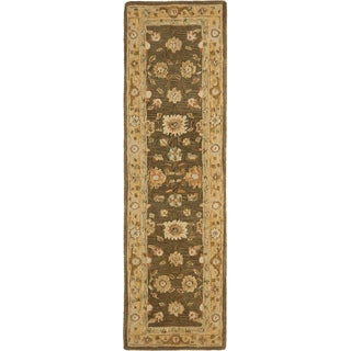 Safavieh Hand-made Farahan Brown/ Taupe Hand-spun Wool Rug (2'3 x 8')