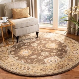 Hand-made Farahan Brown/ Taupe Hand-spun Wool Rug (4' Round)